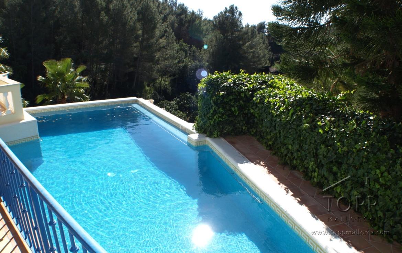 Calvia. Preciosa finca con piscina, bonitos jardines y preparada para amantes de caballos. Varios establos y pista.